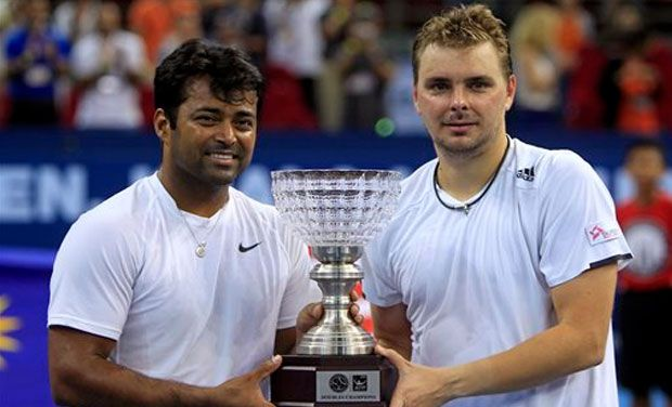 Leander Paes,and Marcin Matkowski defeated Jamie Murray and John Peers to lift the men's doubles title at the Malaysian Open tennis tournament in Kuala Lumpur. Photo: AP