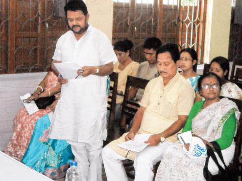 Mohon Sharma takes oath as Alipurduar zilla parishad member on Monday. Picture by Anirban Choudhury