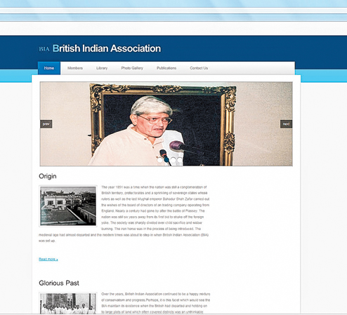The homepage of the British Indian Association website