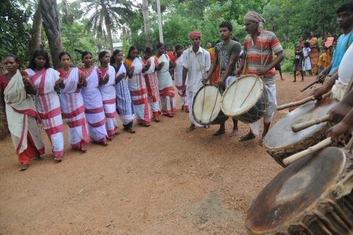 The Santhal community is celebrating a festival at Bhalukshole village in Paschim Medinipur district of West Bengal. Photo: Arunangsu Roy Chowdhury