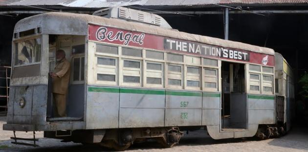 "Tram No. 567, used in the film ""Detective Byomkesh Bakshy!"", at the Nonapukur Tram Depot in Kolkata. Photo: Sushanta Patronobish / The Hindu"