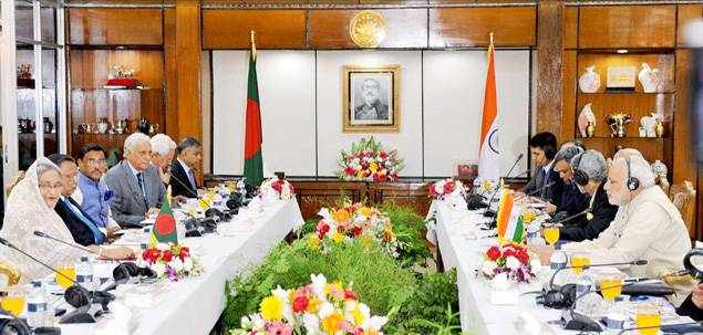 Prime Minister Narendra Modi and his Bangladeshi counterpart Sheikh Hasina during delegation level talks in Dhaka on Saturday. (PTI Photo)