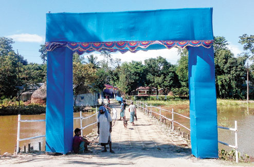 Preparations at Mashaldanga, the Bangladeshi enclave, for Friday's transfer of territory. Picture by Main Uddin Chisti