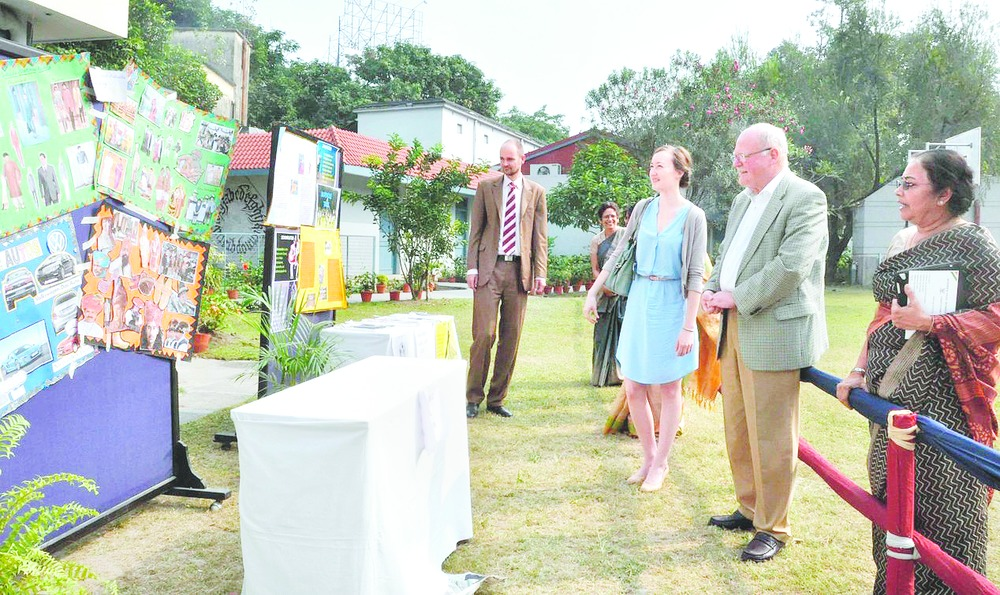 (From left) Friso Maecker, director of the Goethe-Institut/Max Mueller Bhavan, German vice-consul in Calcutta Angela Grossmann and German consul general Olaf Iversen at an exhibition as part of the German fest, organised by Modern High School for Girls. Picture by Anup Bhattacharya