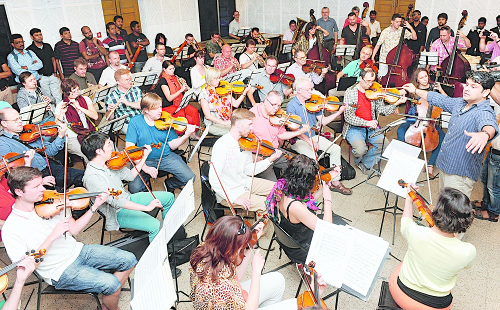 Members of Bohuslav Martinu Philharmonic Orchestra under Debashish Chaudhuri's baton at Calcutta School of Music on Friday. (Sanjoy Chattopadhyaya)
