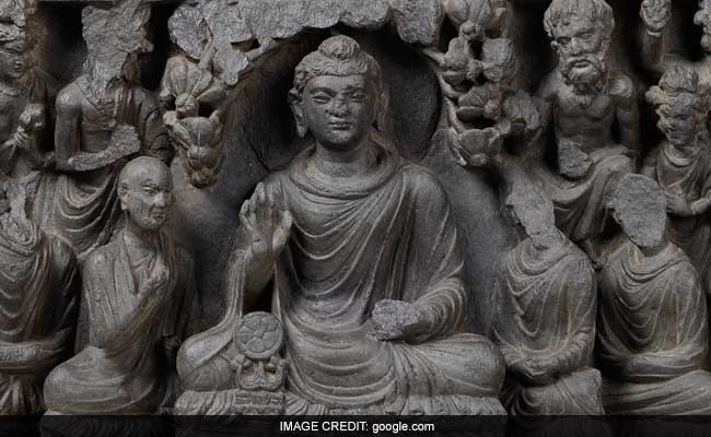 IMAGE CREDIT : google.com  /  Buddha' First Sermon (100-200 C.E) by unknown exhibited at Indian Musuem pubilshed on google cultural institute website.