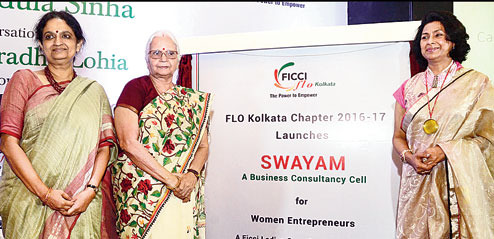 Governor of Goa Mridula Sinha (centre) launches Swayam, the business consultancy cell of FICCI Ladies Organisation (FLO), with Anuradha Lohia, vice-chancellor of Presidency University (left) and Anupama Sureka, chairperson, FLO Calcutta, at Taj Bengal on Tuesday. Picture by B. Halder