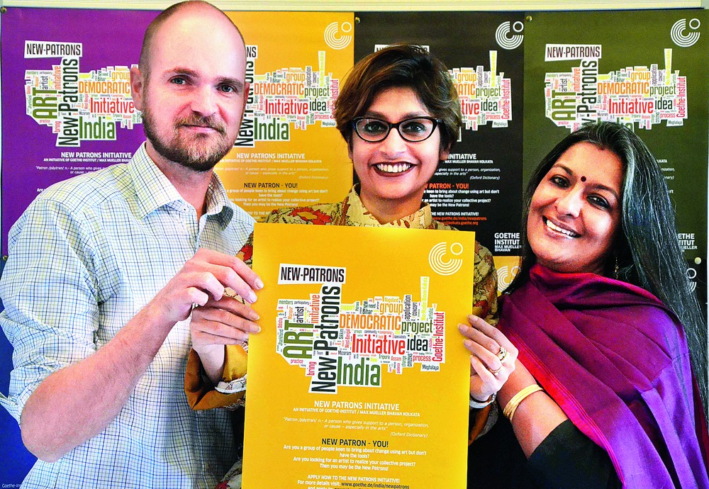 (From left) Max Mueller Bhavan's director Friso Maecker and programme officer Sharmistha Sarkar along with arts curator Nandita Palchoudhuri hold a poster of the New Patrons project